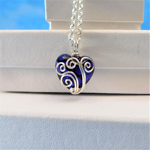 Artisan Crafted Wire Wrapped Blue Heart Pendant, Women's Unique Wearable Art Jewelry, Small Handmade Necklace One of a Kind Present for Wife