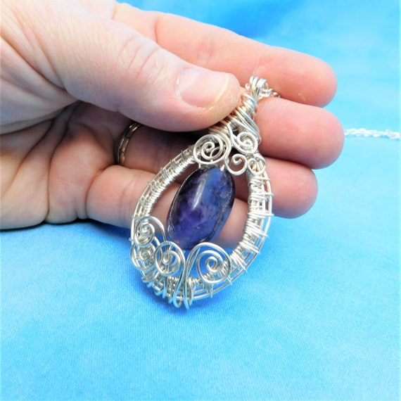 Wire Wrapped Amethyst Pendant, Artistic February Birthstone Necklace, Artistic Gemstone Jewelry, Handcrafted Wearable Art Gift for Mom