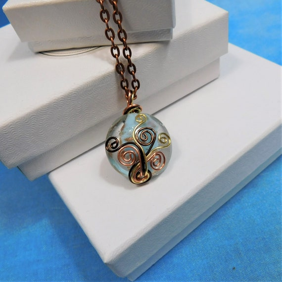 Copper Wire Wrapped Blue Glass Necklace, Artisan Crafted Wearable Art Jewelry Present Ideas for 7th Anniversary, Artistic Pendant Wife Gift