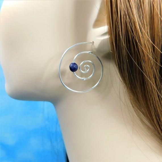 Sterling Silver Hoop Earrings with Gemstones, Lapis Lazuli Hoop Earrings for Birthday Present or Anniversary Gift for Wife or Girlfriend