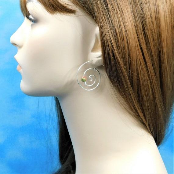 Sterling Silver Hoop Earrings with Gemstones, Unakite Hoop Earrings
