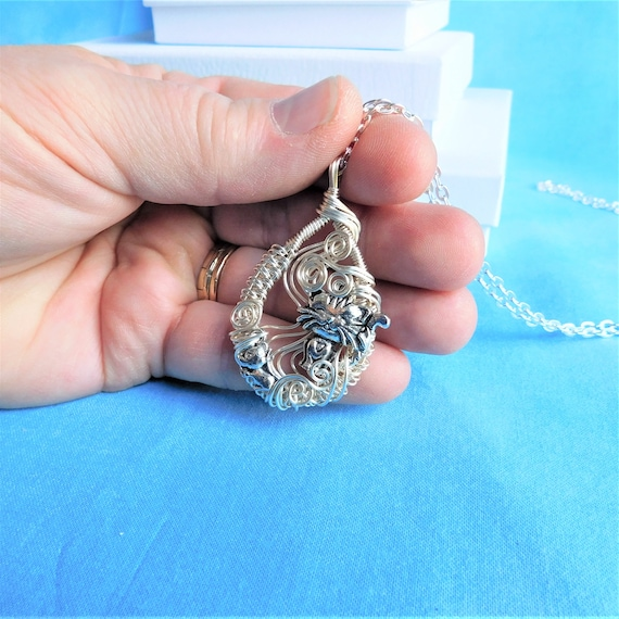 Unique Wire Wrapped Cat Lover Necklace, Artisan Crafted Kitty Jewelry Kitten and Mouse Pendant, Whimsical Wearable Art One of a Kind Gift