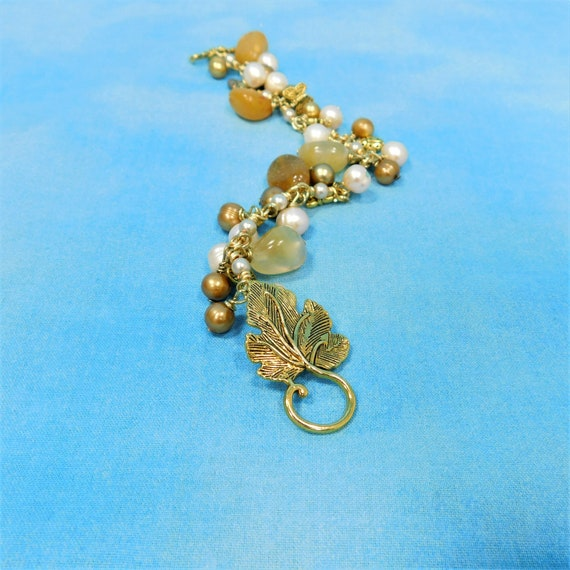 Wire Wrapped Amber Bracelet with Freshwater Pearls, Dragonflies ,Butterflies, and Ladybugs, Multi Gemstone Jewelry in Gold Tone