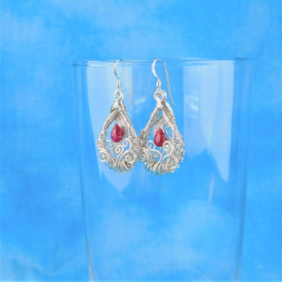 Unique Woven Wire Wrapped Ruby Earrings, Artistic Gemstone Jewelry with Genuine Rubies, Artisan Crafted Wearable Art with July Birthstone