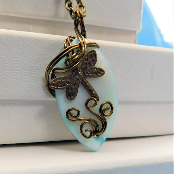 Dragonfly Necklace, Artisan Crafted, Unique Wire Wrapped, Small Blue Mother of Pearl Pendant, One of a Kind Handcrafted Wearable Art Jewelry