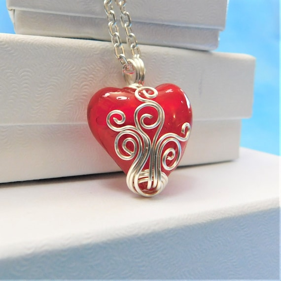 Unique Wire Wrapped Red Heart Necklace, Artistic Handcrafted Pendant,  Artisan Crafted Wearable Art Jewelry, Handmade Present Idea for Women