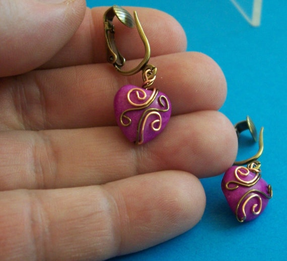 Non Pierced Earrings, Unique Copper Wire Wrapped Purple Ceramic Heart Dangles, Artisan Crafted Jewelry Christmas Present Ideas for Women
