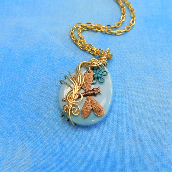 Artistic Copper Wire Wrapped Dragonfly Necklace, Handcrafted Memorial Jewelry, Wearable Art Pendant Bereavement Present for Sympathy Gift