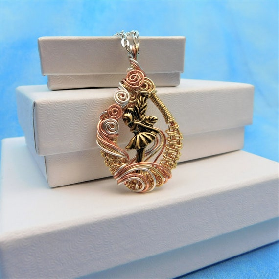 Fairy Necklace Unique Wire Wrapped Pendant, Artisan Crafted Fantasy Jewelry, Artistic Handmade Birthday Present Ideas for Women or Girls