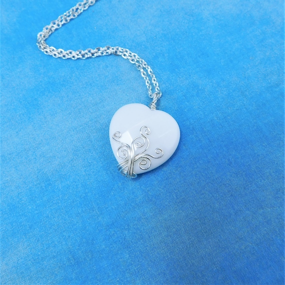 Artistic Handmade White Onyx Necklace Gemstone Heart Pendant, Unique Wire Wrapped Stone Jewelry, Artisan Crafted One of a Kind Wearable Art