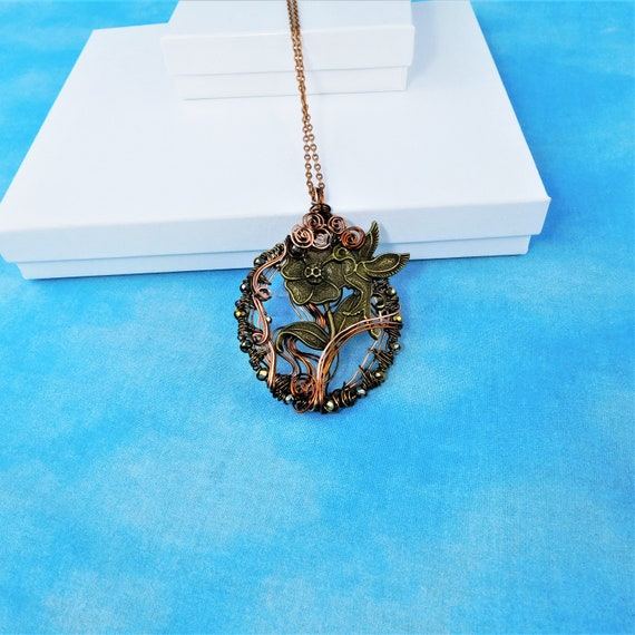 Artistic Hummingbird Necklace, Unique Copper Wire Wrapped Bird Pendant, Wearable Art Jewelry Bereavement Present or Sympathy Gift for Women