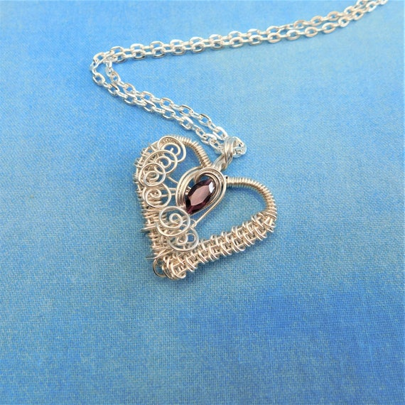 Unique Wire Wrapped Garnet Necklace, Heart Shaped January Birthstone Pendant, Artistic Handmade Wearable Art Jewelry Present Ideas for Women