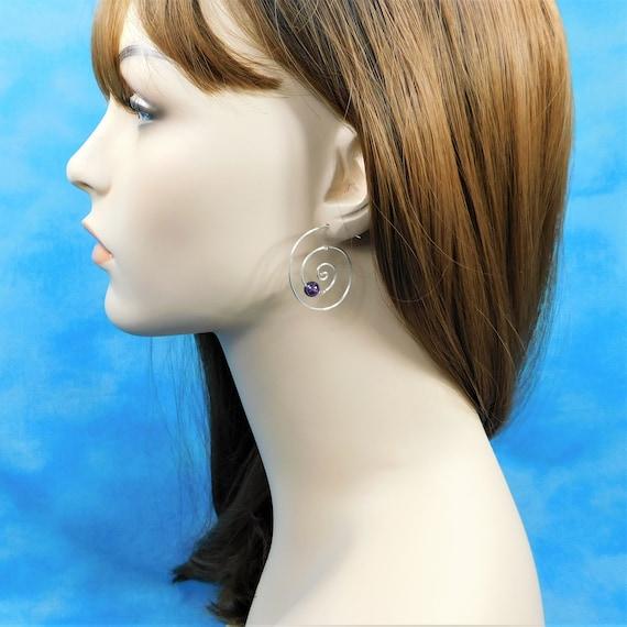 Sterling Silver Hoop Earrings with Gemstones, Amethyst Hoop Earrings