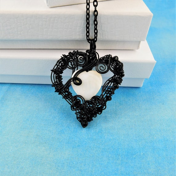 Woven and Sculpted Black Wire Heart Pendant, Artisan Crafted Mother of Pearl Heart Necklace, Wearable Art Jewelry Anniversary Gift for Wife
