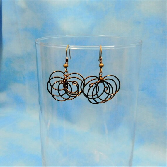 Spiral Earrings Unique Swirl Dangles Rustic Copper Wire Wrapped Loops Unique Handcrafted Artistic Jewelry Birthday Present Ideas for Women
