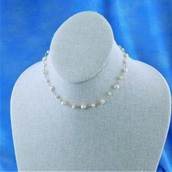16 Inch Choker Length Freshwater Pearl Necklace, June Birthstone Gemstone Jewelry Wearable Art Birthday or Anniversary Present for Women