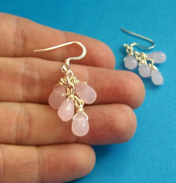 Pink Cluster Dangle Earrings Unique Artisan Crafted Handmade Fire Polished Czech Glass Jewelry Birthday Anniversary Present Ideas for Women