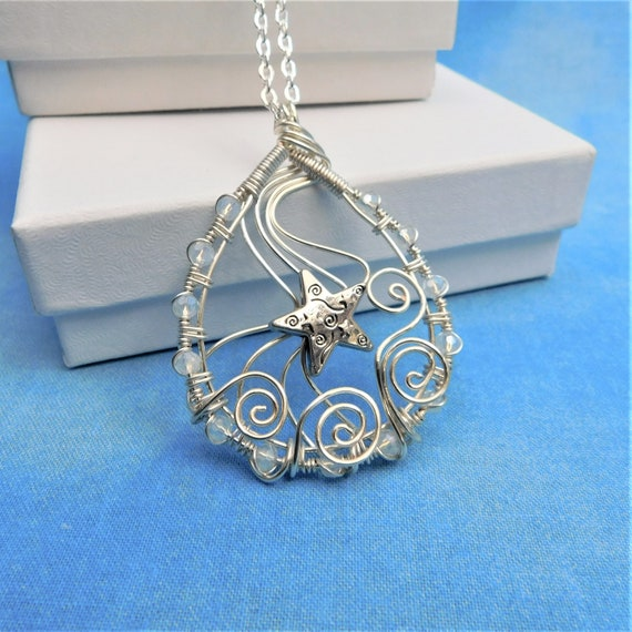 Handcrafted Silver Star Necklace, Artistic Wire Wrapped Pendant, Unique Artisan Crafted Wearable Art Jewelry Present Ideas for Mother's Day
