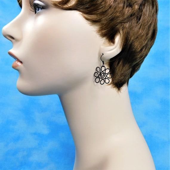 Black Wire Flower Pierced Earrings, Handmade Flower Dangles, Artisan Crafted Wearable Art Jewelry Birthday Gift for Mom, Wife or Girlfriend