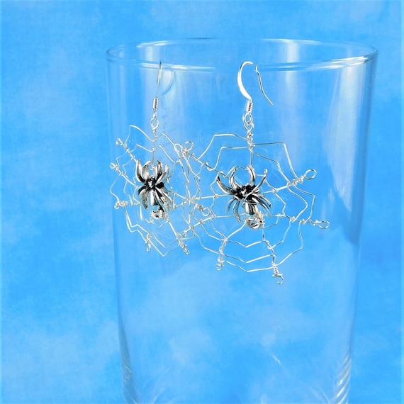 Spider Earrings, Large Spider Web Dangles, Unique Wire Wrapped Jewelry, Handcrafted Wearable Art for Pierced Ears, Present Ideas for Women