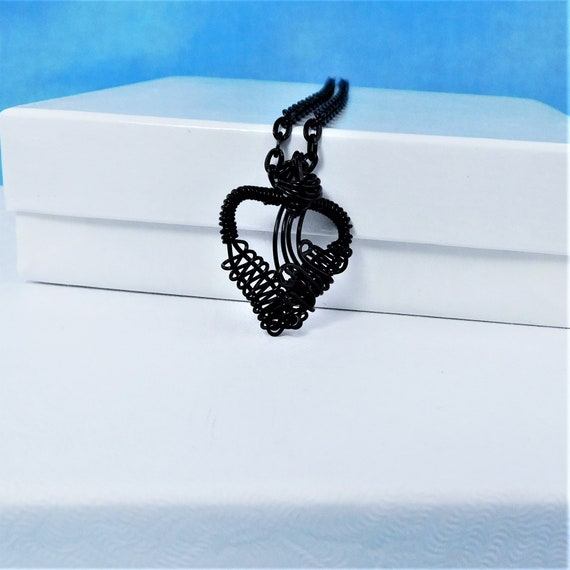 Small Artisan Crafted Unique Black Woven Wire Wrapped Heart Necklace, Artistic Handcrafted Wearable Art Pendant, Jewelry Present for Women