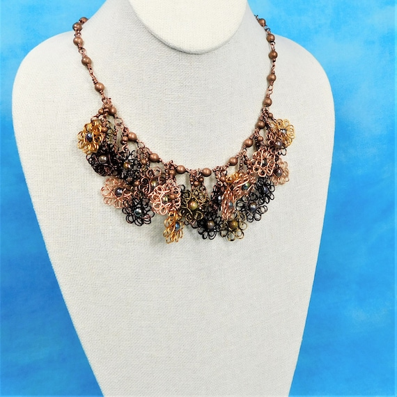 Copper Wire Sculpted Flower Statement Necklace, Floral Bib Necklace Gift for Wife, Girlfriend or Mom, Artistic Jewelry Christmas Present