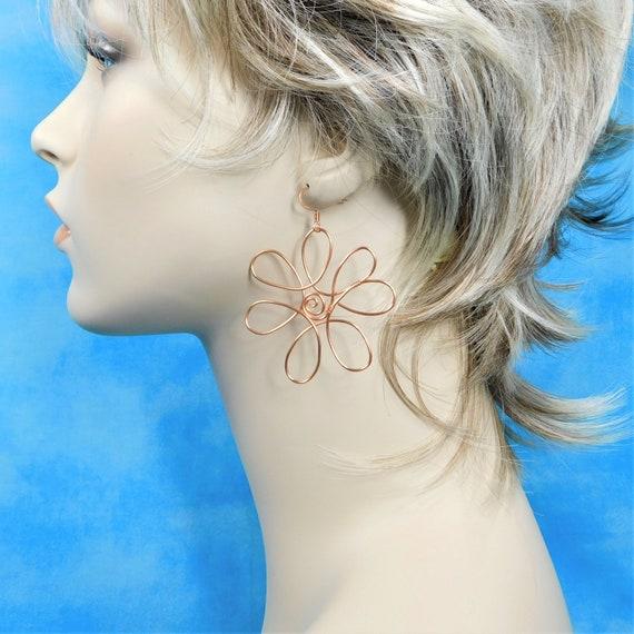 Flower Statement Earrings, Large Rustic Copper Wire Sculpted Flower Dangle Rose Gold Colored Pierced Flower Earrings, Wearable Art Jewelry