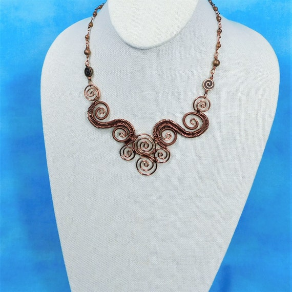 Sculpted and Woven Wire Scroll Work Bib Style Statement Necklace in Antique Copper, 7th Anniversary Gift for Wife or Girlfriend