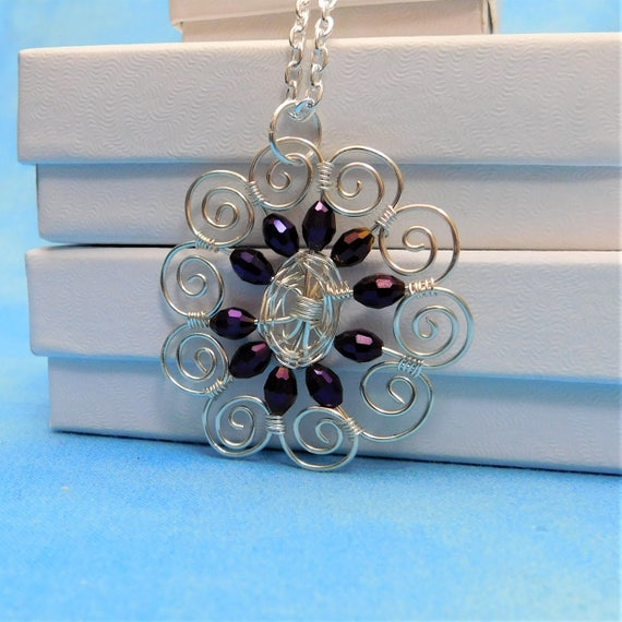 Artistic Purple Crystal Sculpted Wire Flower Pendant, Artisan Crafted Wire Wrapped Jewelry, Anniversary, Birthday or Mother's Day Present