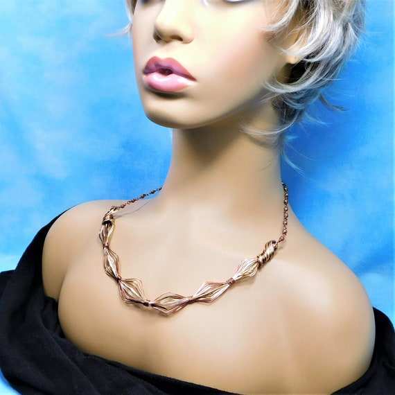 Unique Copper Bib Necklace, Artistic Wire Wrapped Statement Jewelry, One of a Kind Sculpted Wire Wearable Art Present for 7th Anniversary