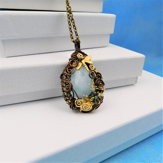 Wire Wrapped Aquamarine Pendant, March Birthstone Necklace, Unique Artisan Crafted Woven Copper and Gemstone Jewelry, One of a Kind Present