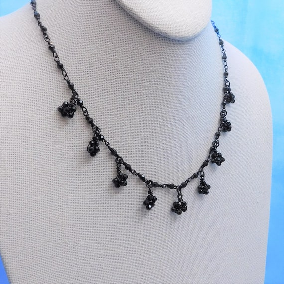 Artistic Wire Wrapped Black Glass Flower Necklace, Artisan Crafted Handmade Jewelry Present for Birthday or Anniversary Gift Idea for Women