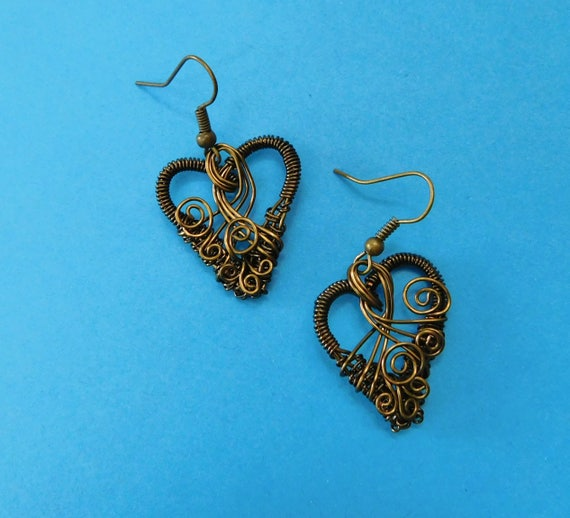 Woven Copper Wire Wrapped Heart Shaped Earrings, Unique Artistic Handmade Romantic Jewelry, Present Idea for Girlfriend, Wife, or Daughter