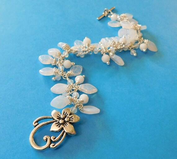 Best Friend Bracelet White Leafy Beaded Cluster Dangle Bracelet Unique Wire Wrap Jewelry Artisan Crafted WearableArt Present Idea for Women