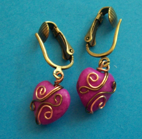 Non Pierced Earrings Unique Copper Wire Wrapped Purple Ceramic Heart Dangles Artisan Crafted Jewelry Gift for Wife Girlfriend Daughter Mom