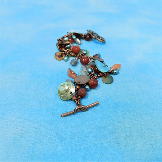 Carnelian Bracelet with Moonstones, Freshwater Pearls and Shells, Rustic Copper and Gemstone Bracelet, June Birthstone Birthday Present