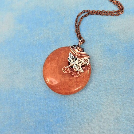 Dragonfly Necklace Peach Aventurine Pendant, Artisan Crafted Copper Wrapped Gemstone Jewelry, Unique Handmade Wearable Art Memorial Present