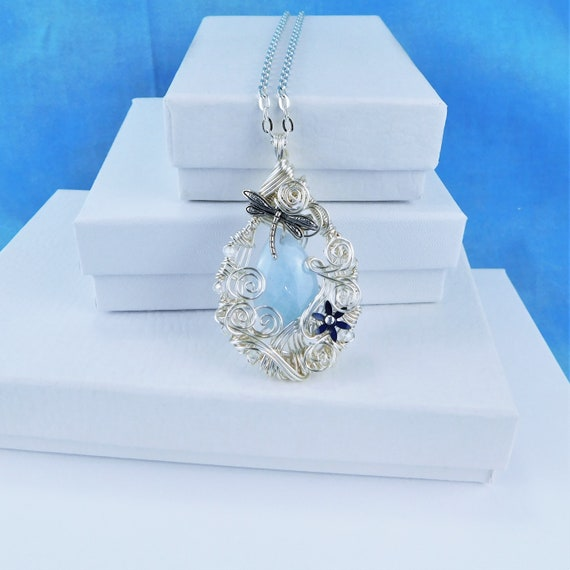Aquamarine Necklace Gemstone Pendant March Birthstone Artisan Crafted Unique Wire Wrapped Wearable Art Jewelry Birthday Gift Ideas for Wife