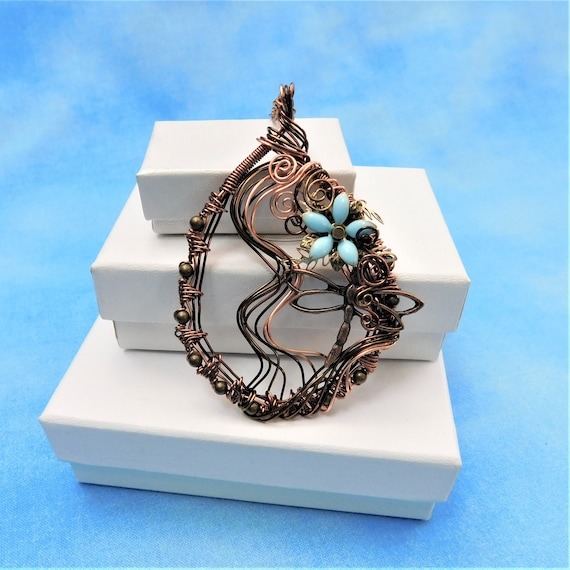Artisan Crafted Dragonfly Necklace Unique Woven Wire Wrapped Pendant, Artistic Memorial Jewelry, Handcrafted Wearable Art Present Ideas