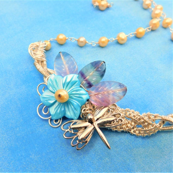 Dragonfly Necklace Gemstone Boho Flower Bib Statement Jewelry Unique Wire Wrapped Artisan Crafted Wearable Art Artistic Handmade Gift Ideas