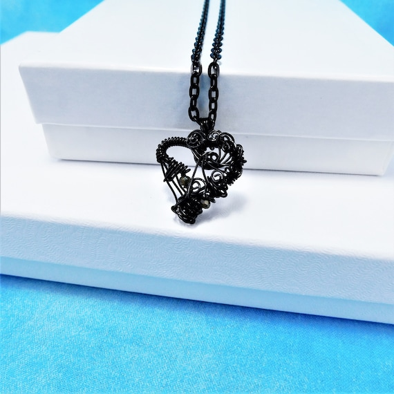Artistic Black Woven Wire Heart Necklace, Artisan Crafted Unique Wire Wrapped Pendant, Handcrafted Wearable Art Jewelry Present for Women