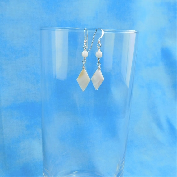 Small Natural White Mother of Pearl  Earrings, Unique Diamond Shaped Dangles, Wearable Art Jewelry for Gift Ideas for Women, Wife, or Mom