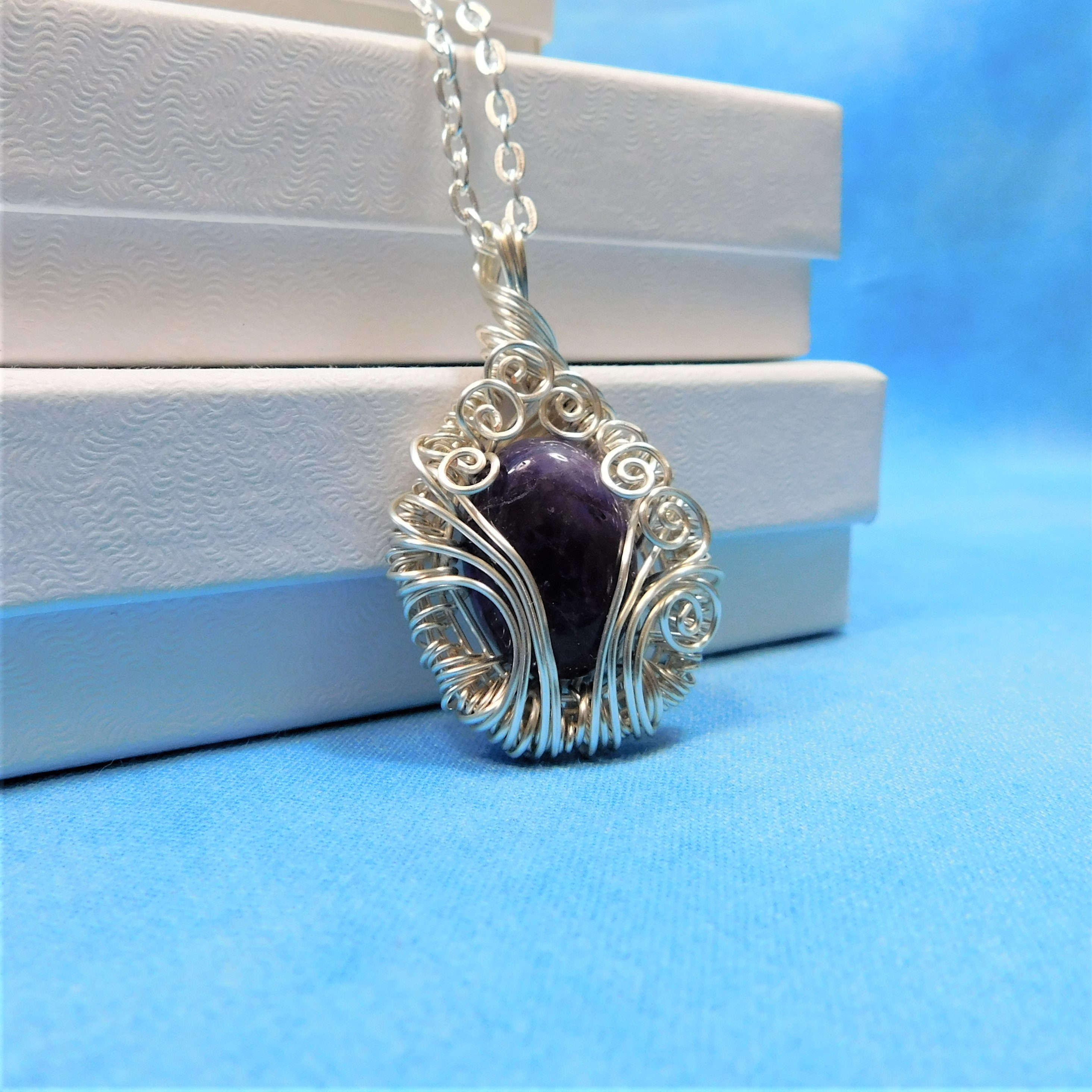 February Birthstone Amethyst Necklace Artisan Crafted Artistic ...