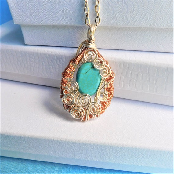 Copper Wire Wrapped Gemstone Necklace, Unique Artisan Crafted Turquoise Howlite Pendant, Handcrafted Artistic Jewelry, 7th Anniversary Gift