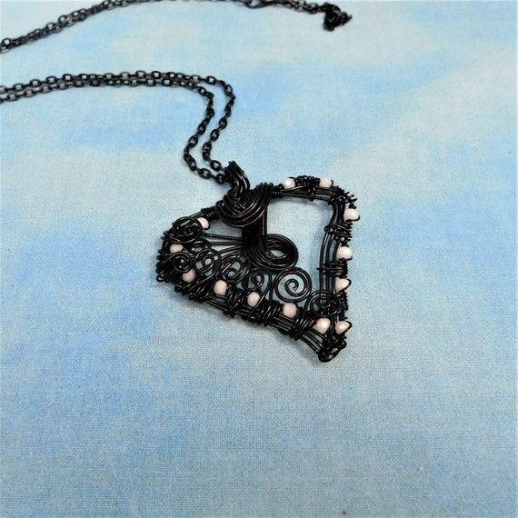 Artisan Crafted Black Wire Heart Necklace, Woven Wire Wrapped Pendant, Handcrafted Wearable Art Jewelry Artistic Present for Wife or Mom