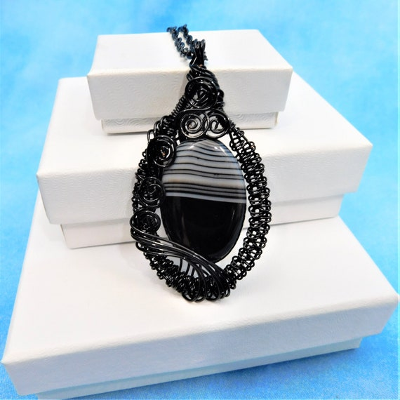 Unique Wire Wrapped Banded Black Onyx Necklace, Handmade Gemstone Pendant, Artisan Jewelry Present for Wife, Mom, or Mother in Law Gift