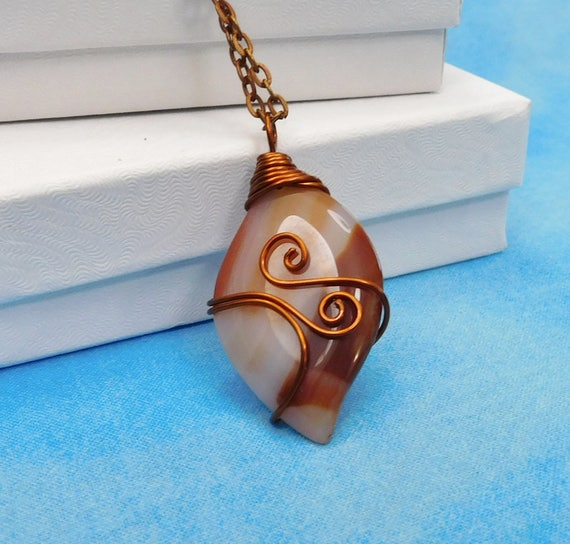 Red Agate Pendant, Rustic Copper Necklace, Unique Artisan Crafted Handmade Gemstone Jewelry, Artistic Wire Wrapped Present Ideas for Women