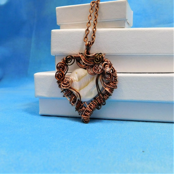 Copper Heart Necklace Girlfriend Gift Wire Wrapped Pendant Artisan Crafted Unique Jewelry Artistic Handmade Wearable Art Present for Wife