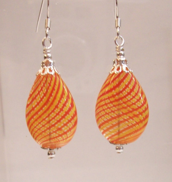 Orange Dangle Earrings Unique Handmade Art Jewelry Blown Glass Bubble Drops Artistic Handmade Birthday Anniversary Present Ideas for Women