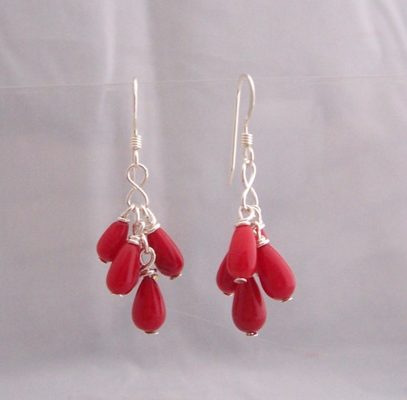 Red Coral Cluster Dangle Earrings Unique Artisan Crafted Wire Wrapped Artistic Gemstone Jewelry Birthday Anniversary Present Ideas for Women